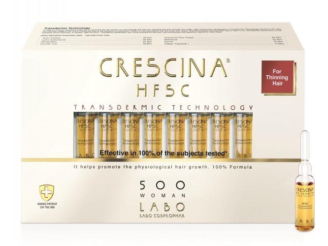 CRESCINA TRANSDERMIC RE-GROWTH HFSC 100% plaukų ataugimą skatinančios ampulės MOTERIMS, 500 stiprumo, 20 vnt.