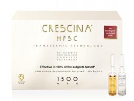 CRESCINA TRANSDERMIC COMPLETE TREATMENT 100% ampulių kompleksas plaukų slinkimo stabdymui ir plaukų atauginimui VYRAMS, 1300 stiprumo, 20 vnt. (10+10)