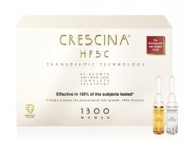 CRESCINA TRANSDERMIC COMPLETE TREATMENT 100% ampulių kompleksas plaukų slinkimo stabdymui ir plaukų atauginimui MOTERIMS, 1300 stiprumo, 20 vnt. (10+10)