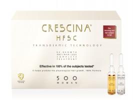 CRESCINA TRANSDERMIC COMPLETE TREATMENT 100% ampulių kompleksas plaukų slinkimo stabdymui ir plaukų atauginimui MOTERIMS, 500 stiprumo, 20 vnt. (10+10)