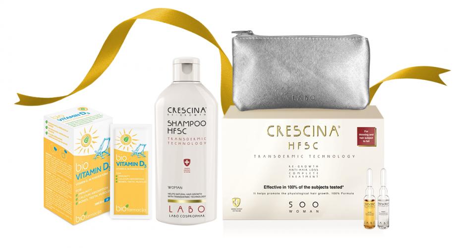 """CRESCINA TRANSDERMIC grožio rinkinys """"Vešlių plaukų revoliucija"""" moterims, 500 stiprumo, 10+10 (2 mėnesiams) + DOVANOS"""