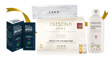 CRESCINA TRANSDERMIC MEGA rinkinys plaukų atauginimui moterims, pažengusiai retėjimo stadijai, 1300 stiprumo, 20+20 (4 mėnesių kursui) + DOVANOS