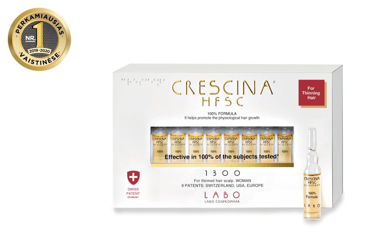 CRESCINA RE-GROWTH HFSC 100% plaukų augimą skatinančios ampulės MOTERIMS, 1300 10 vnt.