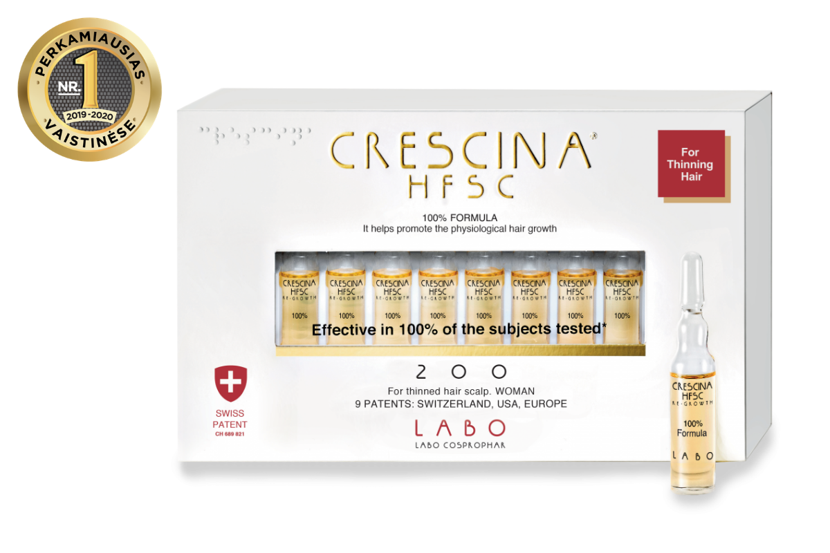 CRESCINA RE-GROWTH HFSC 100% plaukų augimą skatinančios ampulės MOTERIMS 200, 10 vnt.