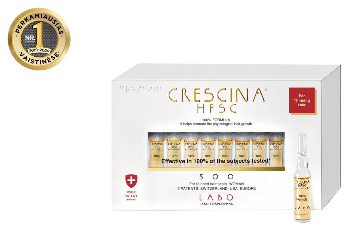 CRESCINA RE-GROWTH HFSC 100% plaukų augimą skatinančios ampulės  MOTERIMS 500, 40 vnt.