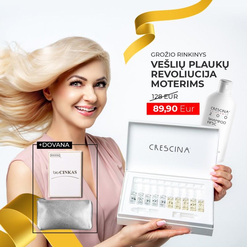"""CRESCINA grožio rinkinys """"Vešlių plaukų revoliucija"""" moterims + DOVANOS"""