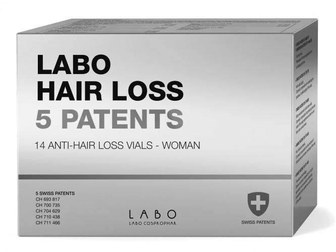 LABO HAIR LOSS 5 Patents ampulės stabdančios momentinį plaukų slinkimą, Moterims, 1 mėn. kursas