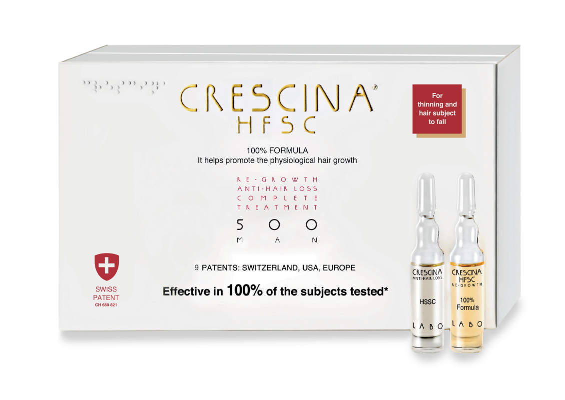 CRESCINA RE-GROWTH HFSC 500 MAN kompleksas, 20 vnt., 10+10
