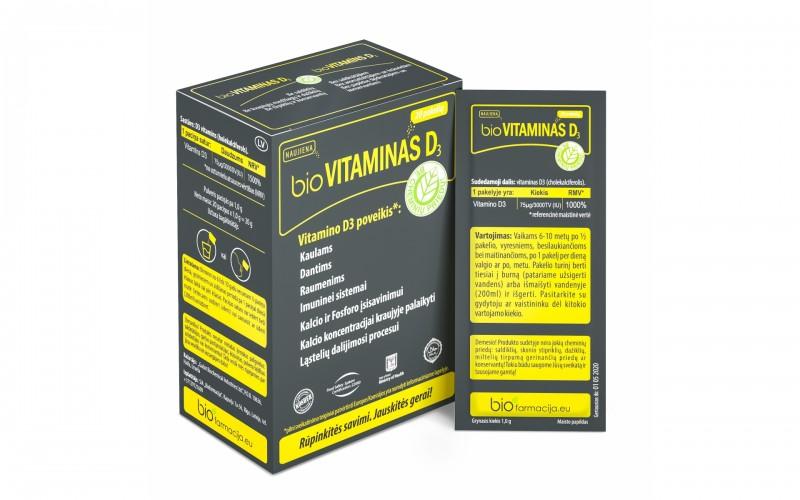 bioVitaminas D3, Maisto papildas, 20 pakelių