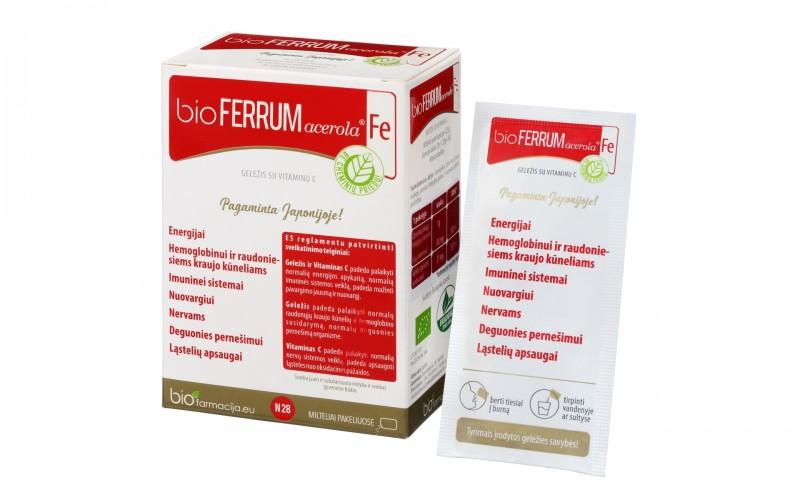 bioFERRUM ACEROLA, Geležis + vit.C, Maisto papildas, 28 pakeliai