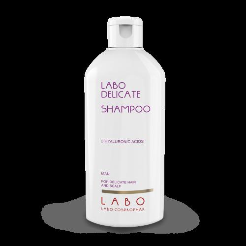 """LABO DELICATE"" šampūnas jautriai galvos odai su 3 HA rūgštimis. Vyrams."